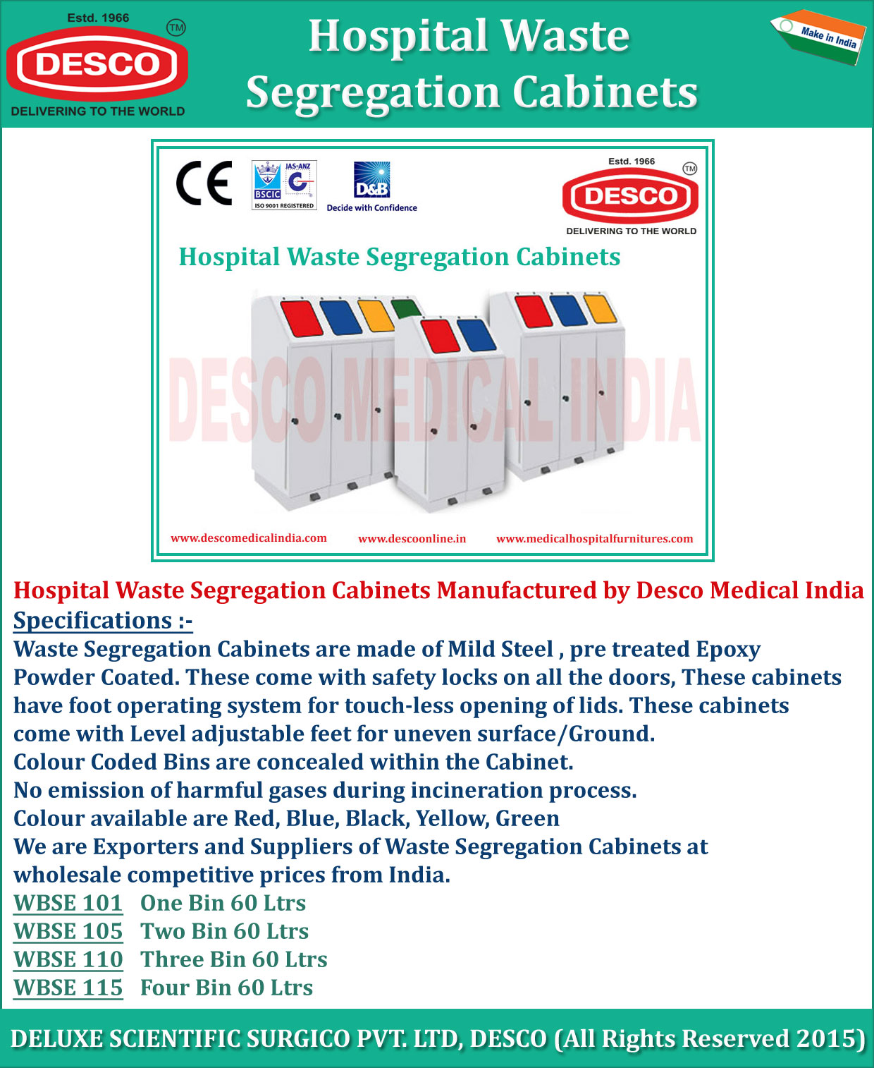 Medical Waste Segregation Cabinets Stainless Steel