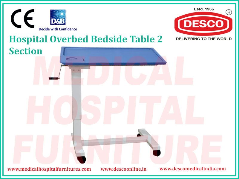 Overbed Bedside Table 2 Section