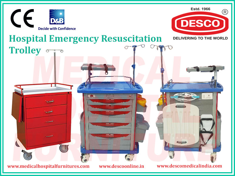 Hospital Emergency Resuscitation Trolley