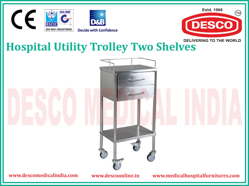 TWO SHELVES UTILITY TROLLEY