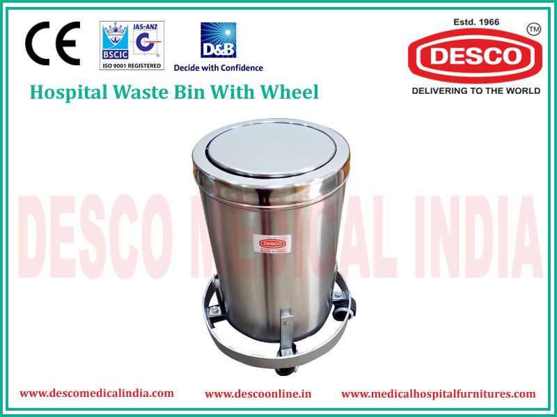 HOSPITAL WASTE BIN METAL WITH WHEELS