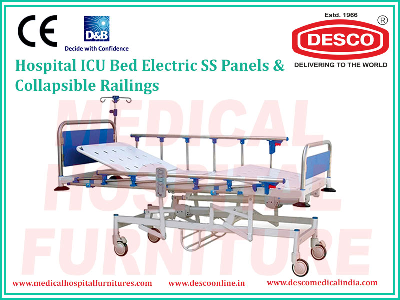 ICU BED ELECTRIC SS PANELS & COLLAPSIBLE RAILINGS
