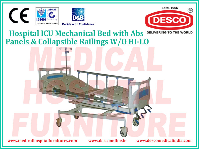 ICU MECHANICAL BED WITH ABS PANELS & COLLAPSIBLE RAILINGS W/O HI-LO
