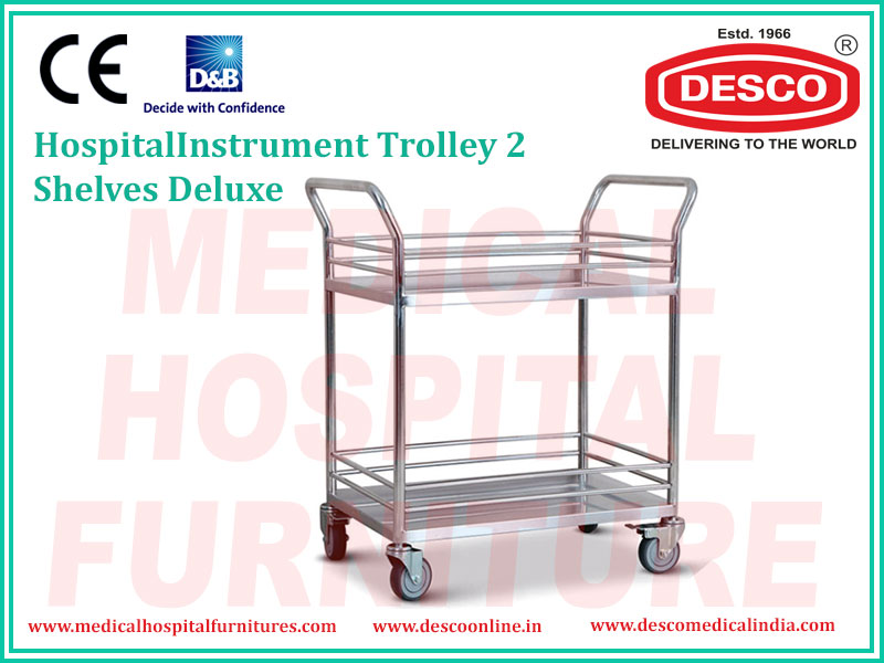 2 SHELVES  DELUXE INSTRUMENT TROLLEY
