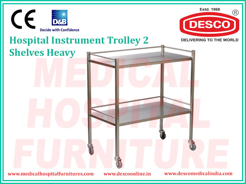 2 SHELVES HEAVY INSTRUMENT TROLLEY