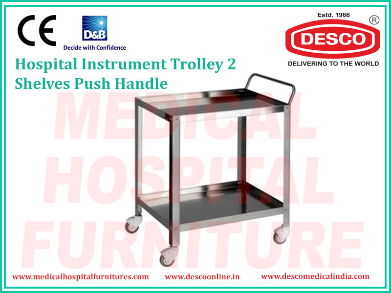 2 SHELVES PUSH HANDLE INSTRUMENT TROLLEY