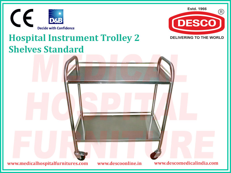 2 SHELVES STANDARD INSTRUMENT TROLLEY