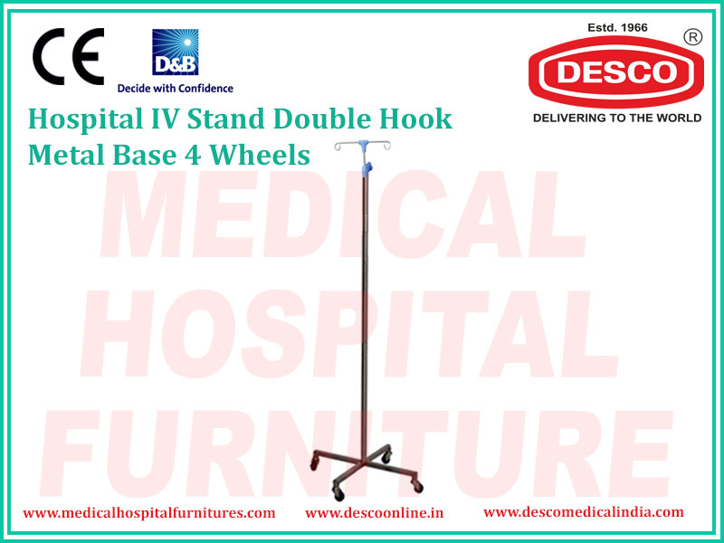 IV STAND DOUBLE HOOK METAL BASE 4 WHEELS