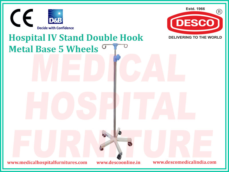 IV STAND DOUBLE HOOK METAL BASE 5 WHEELS