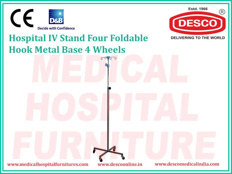 IV STAND FOUR FOLDABLE HOOK METAL BASE 4 WHEELS