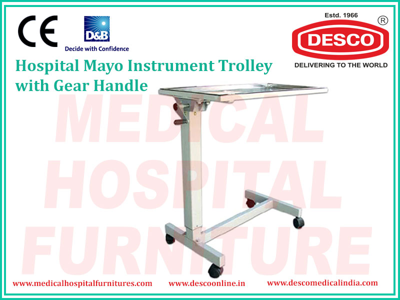 GEAR HANDLE MAYO INSTRUMENT TROLLEY