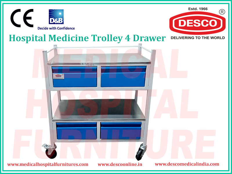 4 DRAWER MEDICINE TROLLEY
