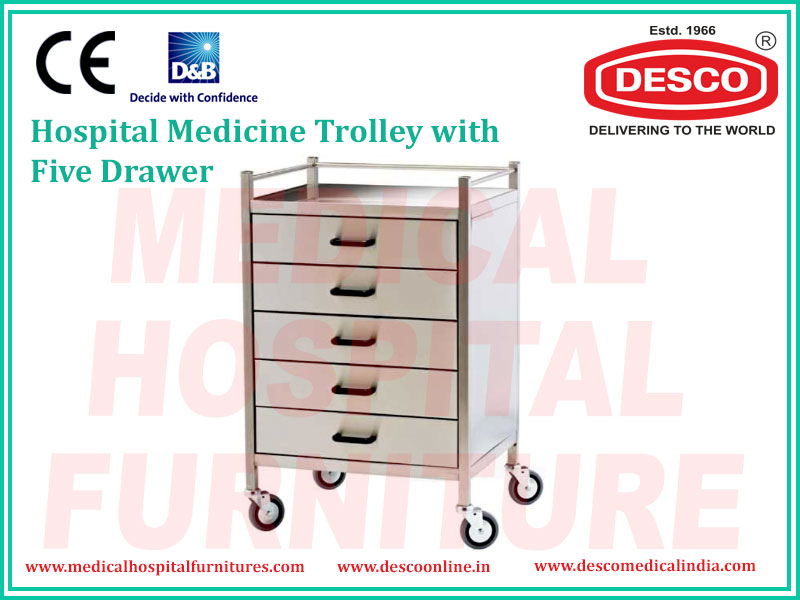 MEDICINE TROLLEY 5 DRAWER