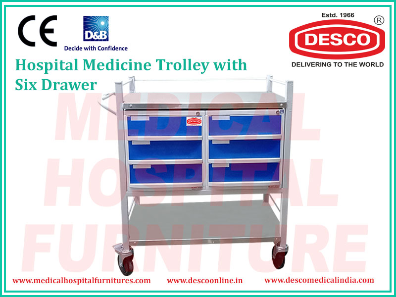 HOSPITAL MEDICINE TROLLEY 6 DRAWER