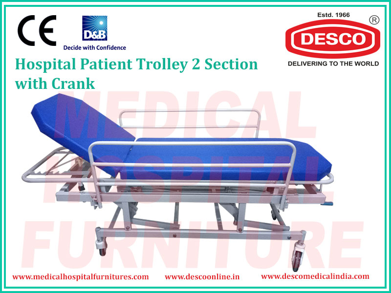 PATIENT TROLLEY 2 SECTION HEIGHT ADJUSTABLE