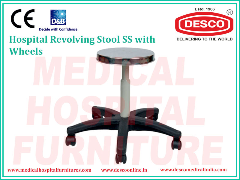 REVOLVING STOOL SS WITH WHEELS