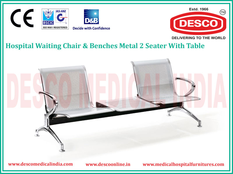 2 SEATER METAL WAITING CHAIR WITH TABLE