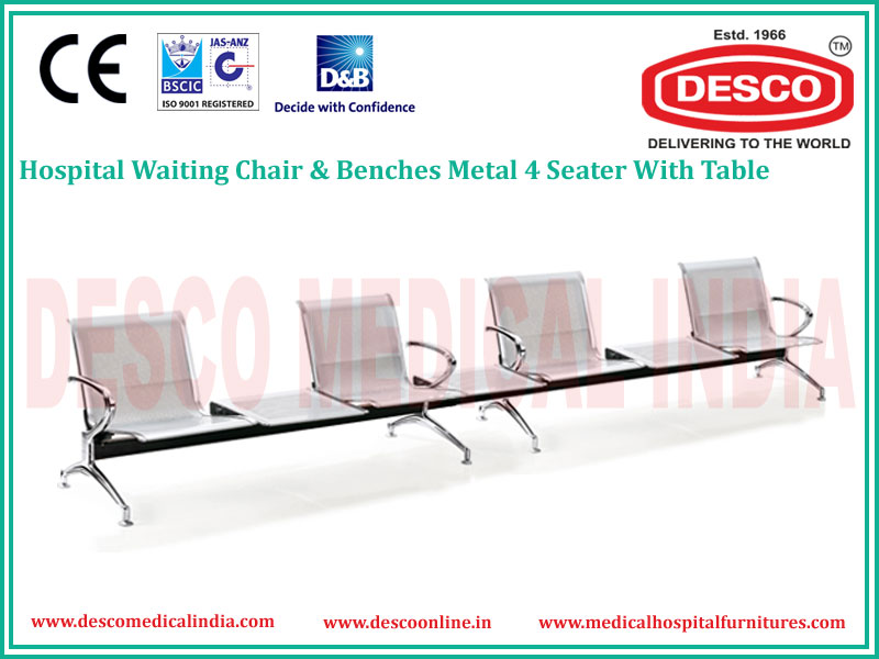 4 SEATER METAL WAITING CHAIR WITH TABLE