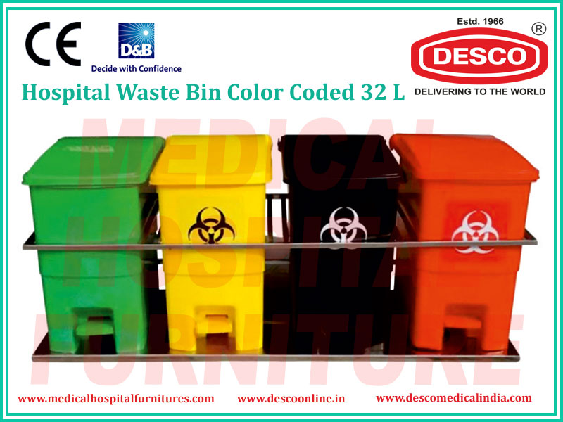 HOSPITAL WASTE BINS COLOR CODED 32L