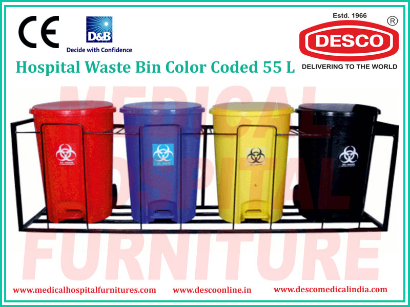 WASTE BIN COLOR CODED 55L