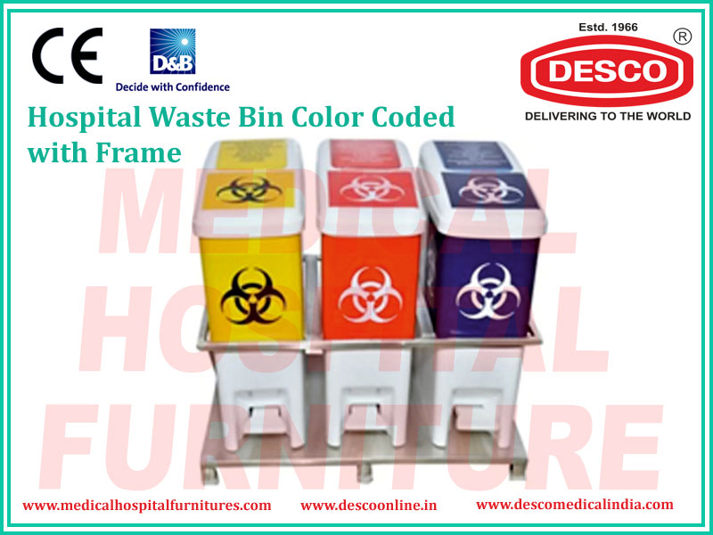 WASTE BIN COLOR CODED WITH FRAME