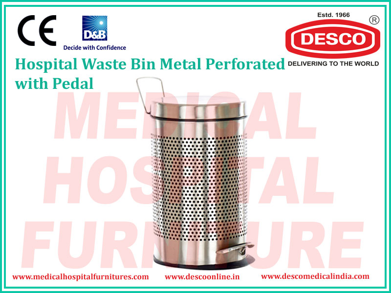 WASTE BIN METAL PERFORATED WITH PEDAL