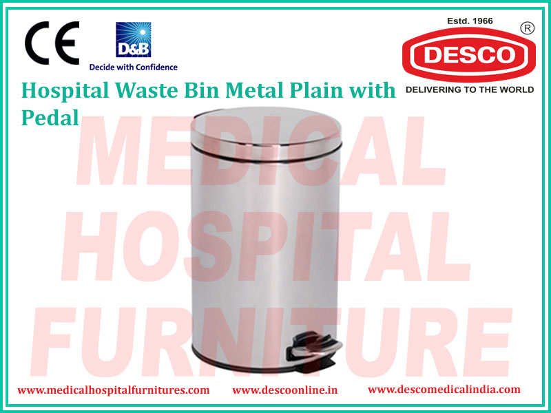 WASTE BIN METAL PLAIN WITH PEDAL