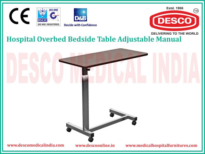 Manual Hospital Overbed Bedside Table Adjustable